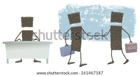 Manager, Agreed!. An executive sitting at his desk. Two executives shake hands. - stock photo
