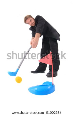 manager and golf toy - stock photo