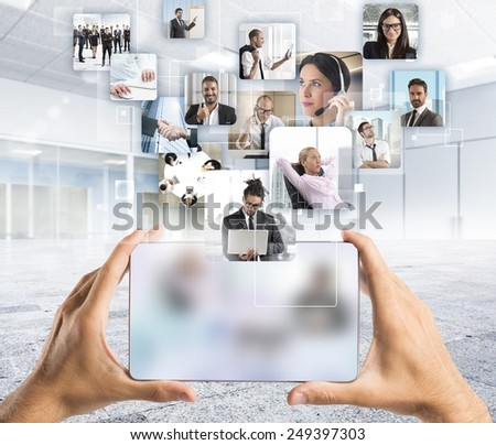 Manager and his business team to action - stock photo