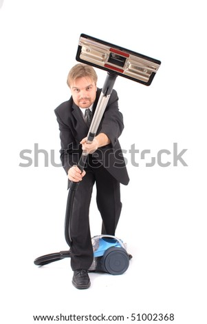 manager and vacuum cleaner - stock photo