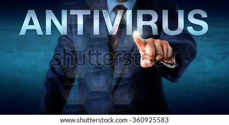 Manager is touching the word ANTIVIRUS on a screen. Technology concept for anti-virus or anti-malware software, abbreviated as AV. Locked data packets float onscreen. Copy space over blue background. - stock photo