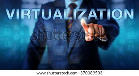 Manager is touching VIRTUALIZATION on a screen. Many locked padlock icons entailed in virtual hexagons are structured into an abstract and independent layer. Technology concept and business metaphor. - stock photo