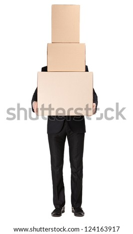 Manager keeping pile of cardboard boxes, isolated on white - stock photo
