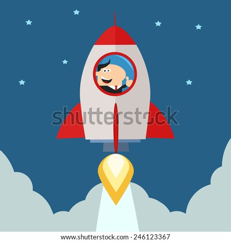 Manager Launching A Rocket To The Sky And Giving Thumb Up.Flat Style Raster Illustration - stock photo