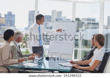 Manager pointing at the peak of a chart during a meeting in the meeting room - stock photo