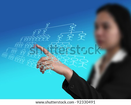 manager selecting employee who fired from virtual interface for human resource concept - stock photo