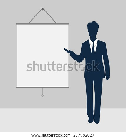 Manager stand near blank board presentation showing speak project brief template - raster - stock photo