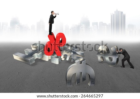 Manager using megaphone yelling at businessman pushing 3d metal currency symbol with red percentage sign on gray urban scene background - stock photo