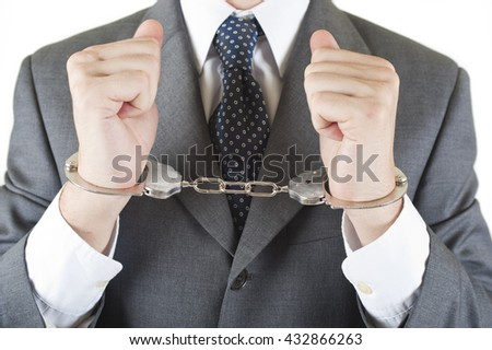Manager whit handcuff isolated on white background - stock photo