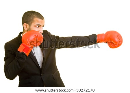 Manager with red boxing gloves - stock photo