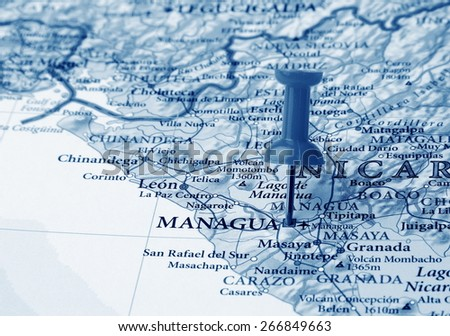 Managua  destination in the map - stock photo