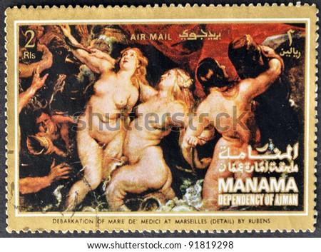 "MANAMA (AJMAN)- CIRCA 1972: A stamp printed in the Manama shows painting ""Debarkation of Marie de Medici at Merseilles"" by Peter Paul Rubens, detail, circa 1972 - stock photo"
