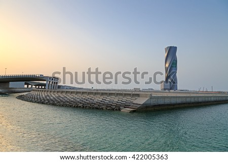 MANAMA, BAHRAIN - MAY 14, 2016: View of the Seafront with The United Tower Building in the capital city. - stock photo