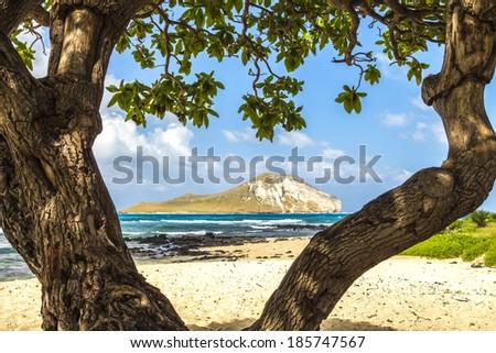 Manana Island, commonly known as Rabbit Island, off the Windward Coast of Oahu, Hawaii - stock photo