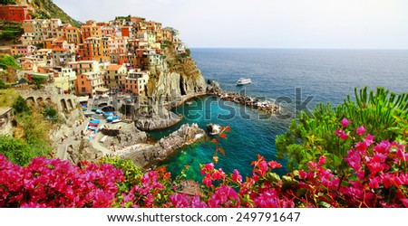 Manarola- beautiful village in Cinque terre, Liguria, Italy - stock photo