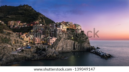 Manarola (Cinque Terre ITALY) at dawn - stock photo