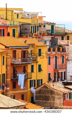 Manarola (Manaea), a small town in province of La Spezia, Liguria, Italy. It's one of the lands of Cinque Terre, UNESCO World Heritage Site - stock photo