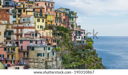Manarola village, Five lands, Cinque Terre National Park, Liguria Italy - stock photo