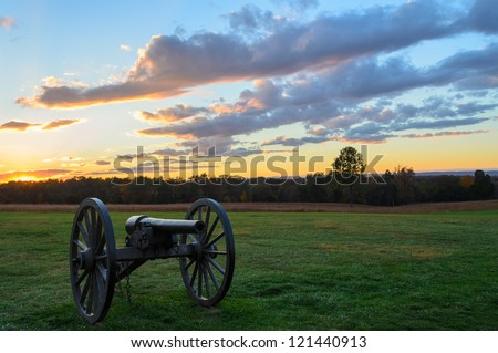 Manassas National Battlefield Park cannon at sunset - stock photo