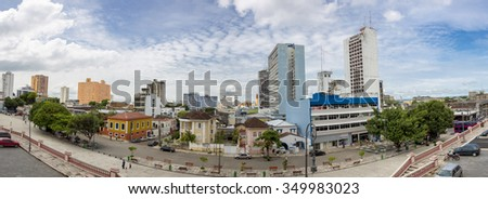 MANAUS, BRAZIL, MARCH 21: Urban panorama of Manaus city with modern and dirty tall residential buildings, Amazonas State. Brazil 2015 - stock photo