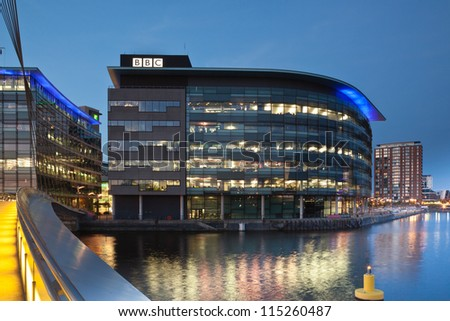 MANCHESTER, ENGLAND - OCT 2: Media City on October 2nd, 2012 in Manchester, England.The location for the new BBC terrestrial broadcasting studios for TV and radio in the UK. - stock photo