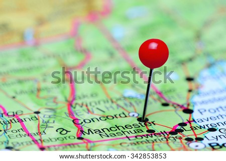 Manchester pinned on a map of USA  - stock photo