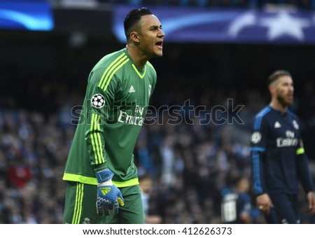 MANCHESTER, UK - APRIL 26, 2016: Keylor Navas of Real pictured during UEFA Champions League semi-final game between Manchester City and Real Madrid at Etihad stadium. - stock photo