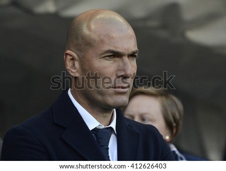 MANCHESTER, UK - APRIL 26, 2016: Real's manager Zinedine Zidane pictured prior to the UEFA Champions League semi-final game between Manchester City and Real Madrid at Etihad stadium. - stock photo