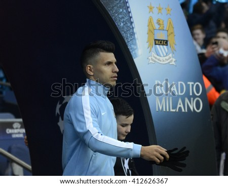 MANCHESTER, UK - APRIL 26, 2016: Sergio Aguero of City enters the pitch prior to the UEFA Champions League semi-final game between Manchester City and Real Madrid at Etihad stadium. - stock photo