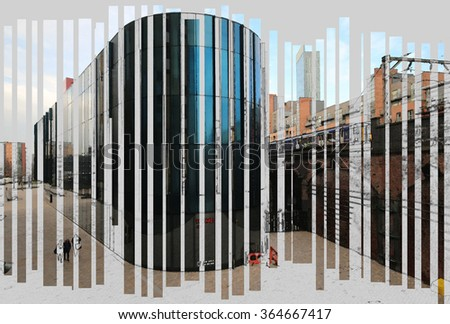 MANCHESTER, UK - JANUARY 16, 2016: A digitally constructed illustration of the media centre built to help boost the economy by attracting other businesses to this part of the city centre.  - stock photo