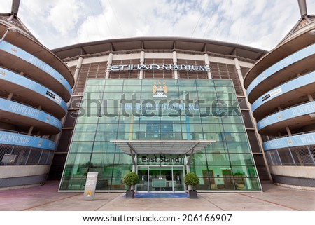 MANCHESTER, UK - JULY 6, 2014: Etihad stadium is home to Manchester City English Premier League football club, one of the most successful clubs in England. - stock photo