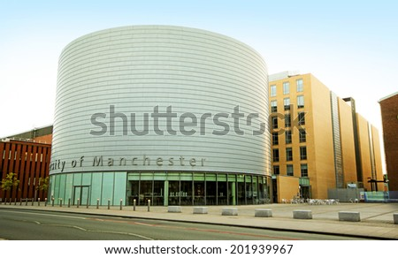 MANCHESTER, UK - June 2014: Manchester University, England, UK, 29 June 2014. The University is a British 'Redbrick' university, a member of the Russell Group and the N8 group. - stock photo