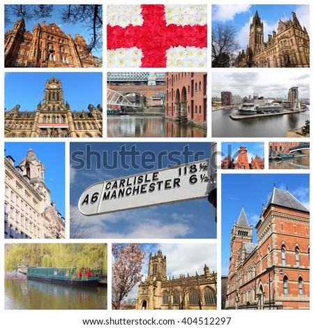 Manchester, UK travel photos collage. Collage includes major landmarks like City Hall, Castlefield waterway district and the Cathedral. - stock photo