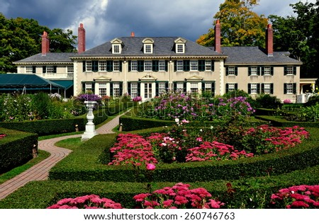 Manchester Village, Vermont - September 17, 2014:  East Front of Robert Todd Lincoln's 1905 Georgian Revival Summer home and its formal gardens - stock photo