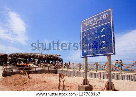 Mancora surfer beach sign in Peru. - stock photo