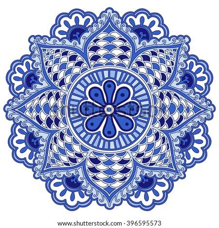 Mandala flower of circular elements. Blue ethnic pattern. Rasterized version. - stock photo