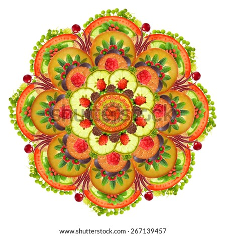 Mandala vegetarian Pizza -  vegetables, fruits and  pastries. Abstract  handmade isolated collage - stock photo