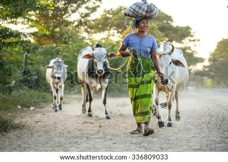 MANDALAY, MYANMAR - DECEMBER 15 : Unidentify people between the road from Mandalay to Bagan in December 15, 2014 at Myanmar. Myanmar simple way of life can be seen everywhere. - stock photo