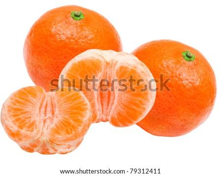 Mandarin isolated on white background - stock photo