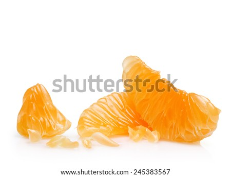Mandarin orange citrus fruit slice isolated. - stock photo
