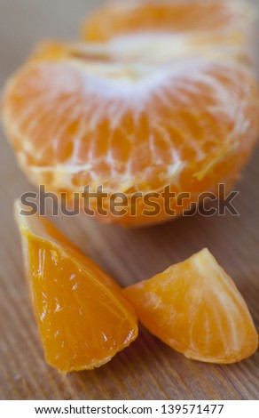 Mandarin orange slice closeup - stock photo
