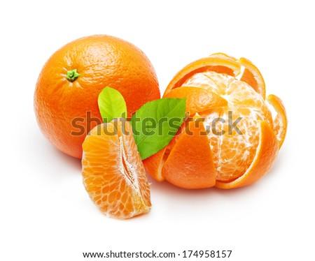 Mandarin, tangerine, orange citrus fruit isolated on white background. - stock photo