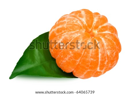 mandarin with leaf - stock photo