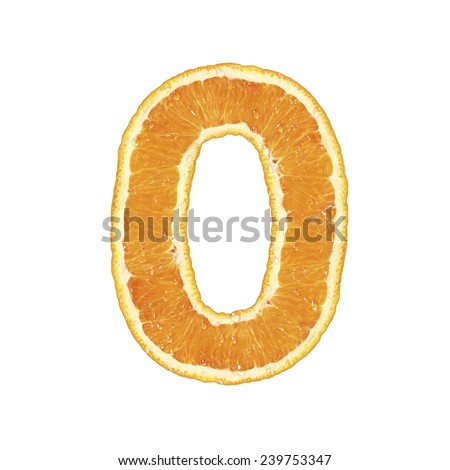 Mandarine alphabet (number 0) - stock photo