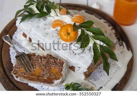 Mandarine cake  - stock photo