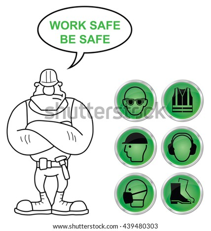 Mandatory construction manufacturing and engineering health and safety shiny green icons to current British Standards with work safe be safe message isolated on white background - stock photo