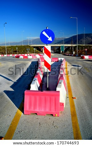 mandatory direction - road sign - stock photo