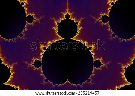 Mandelbrot fractal in the colors of purple golden yellow blue. - stock photo