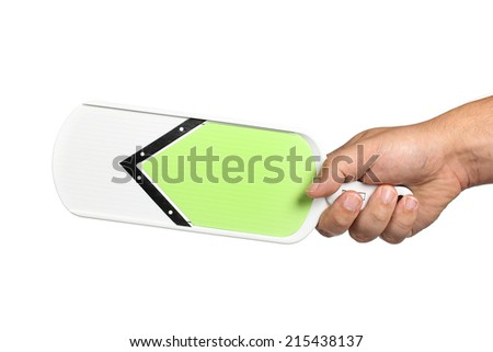 mandolin in hand on a white background - stock photo