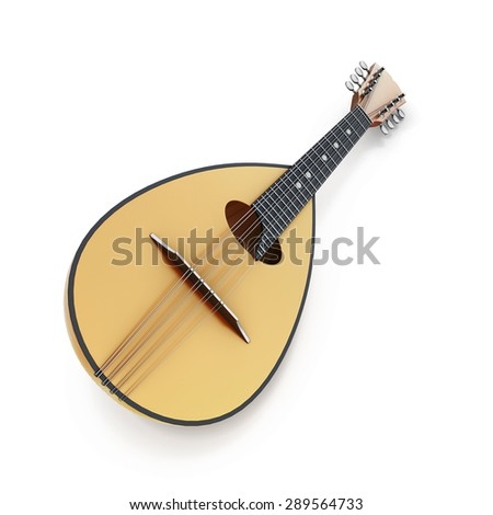 Mandolin isolated on a white background. 3d render image. - stock photo